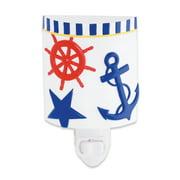 Nautical Ship's Anchor Captain's Wheel Guiding Star Resin Night Light