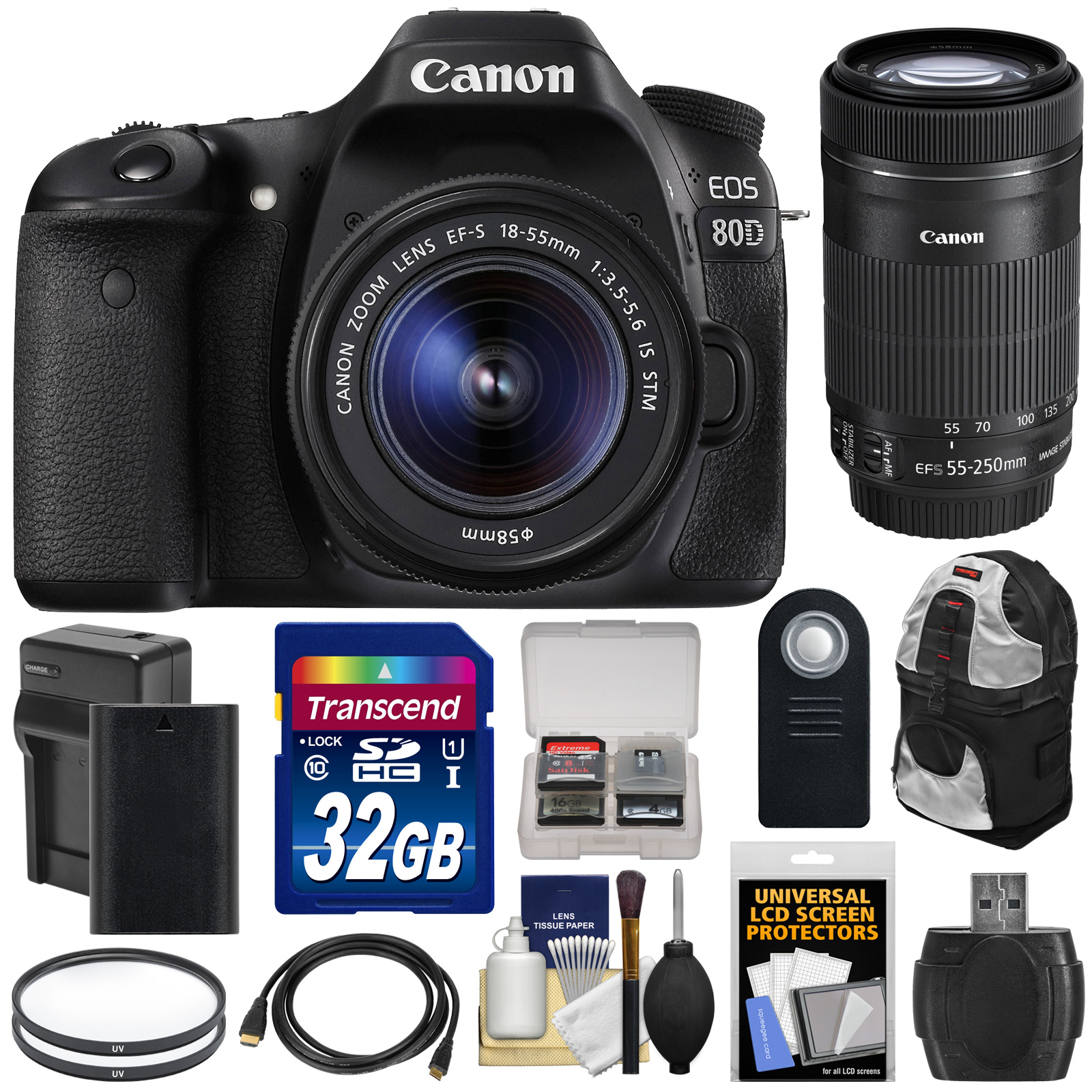 Canon EOS 80D Wi-Fi Digital SLR Camera & EF-S 18-55mm IS STM with 55-250mm IS STM Lens + 32GB Card + Battery & Charger +... by Canon