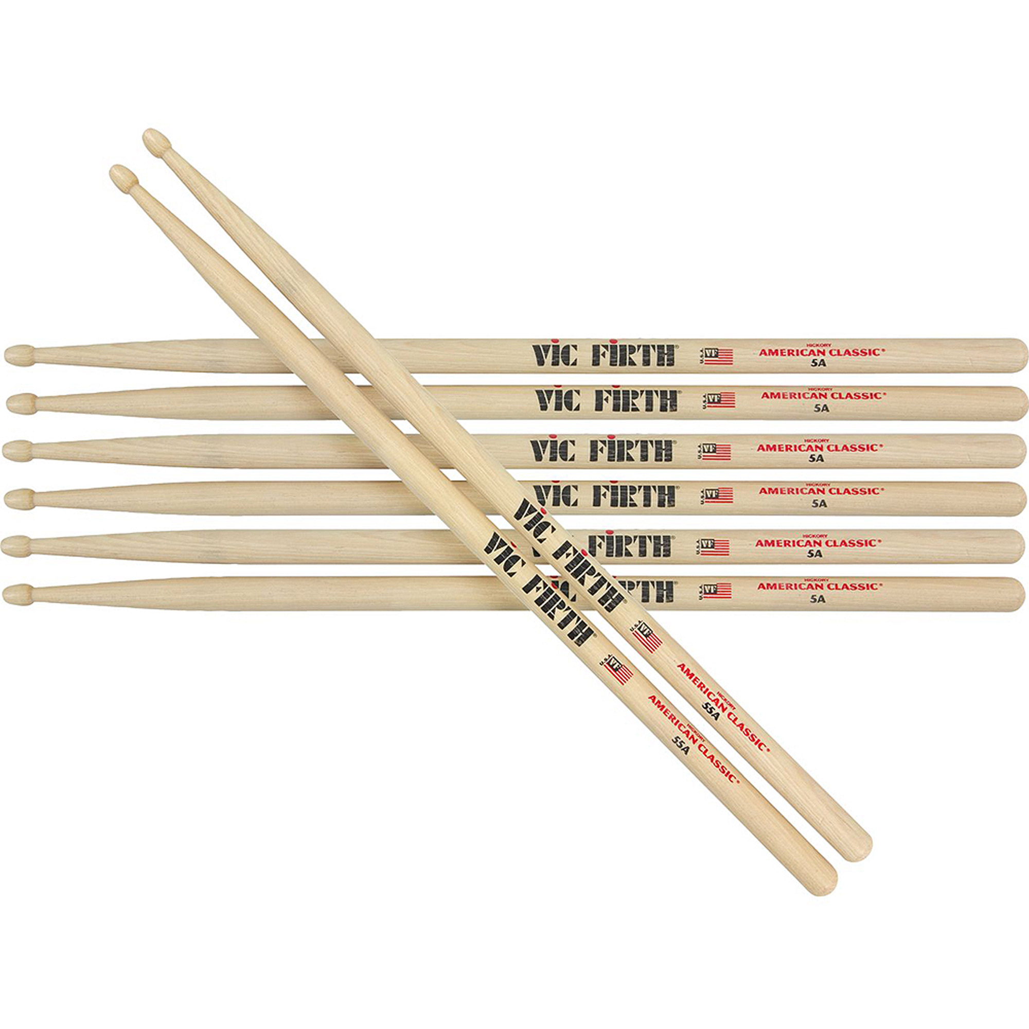 Vic Firth 5A American Classic Wood Tip Drumsticks - 4 For The Price of 3!
