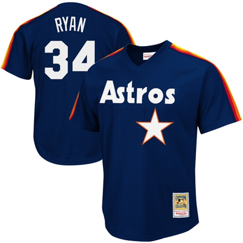 Nolan Ryan Houston Astros Mitchell & Ness 1988 Authentic Cooperstown Collection Mesh Batting Practice Jersey - Navy