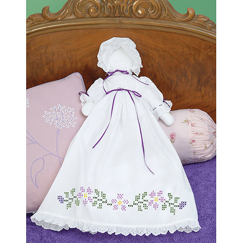 Jack Dempsey Starflowers Stamped White Pillowcase Doll Kit