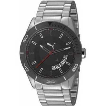Puma Circuit-Large metal Silver Black Quartz Watch PU103161002