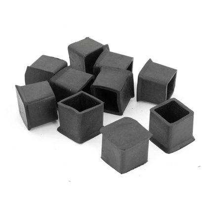 10 x black 25mm x 25mm square rubber furniture foot cover for 10 x 18 square feet
