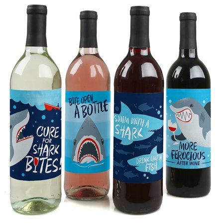 Party City Shark (Shark Zone - Shark Week Party - Jawsome Shark Party Wine Bottle Label Stickers - Set of)