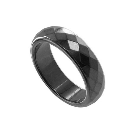Gem Avenue Simulated Hematite Magnetic Faceted 6mm Wide Band 6mm Faceted Band Gemstone Ring