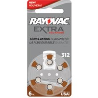 Rayovac Extra Size 312 USA Made, 60 Batteries + Battery Holder Keychain Kit