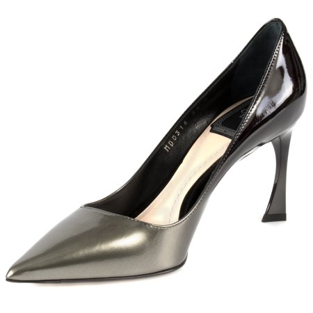 Calfskin Card (Dior Graded Patent Calfskin Pump   8cm Heel   Grey and Black )