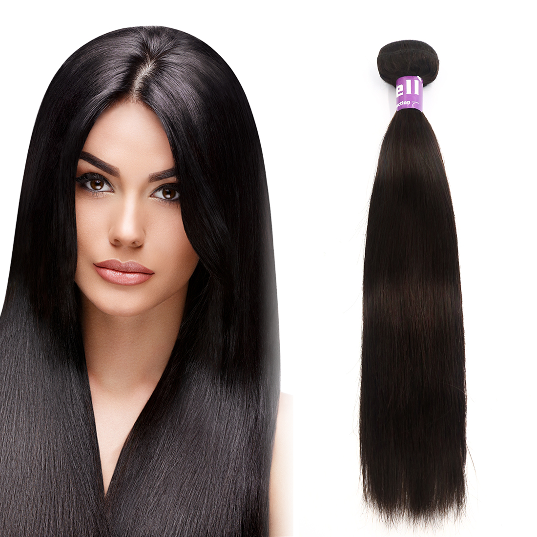 "Human Hair 20"" 1 Bundle Straight Brazilian Weave Peruvian Hair Silky Hair Extensions 7A"