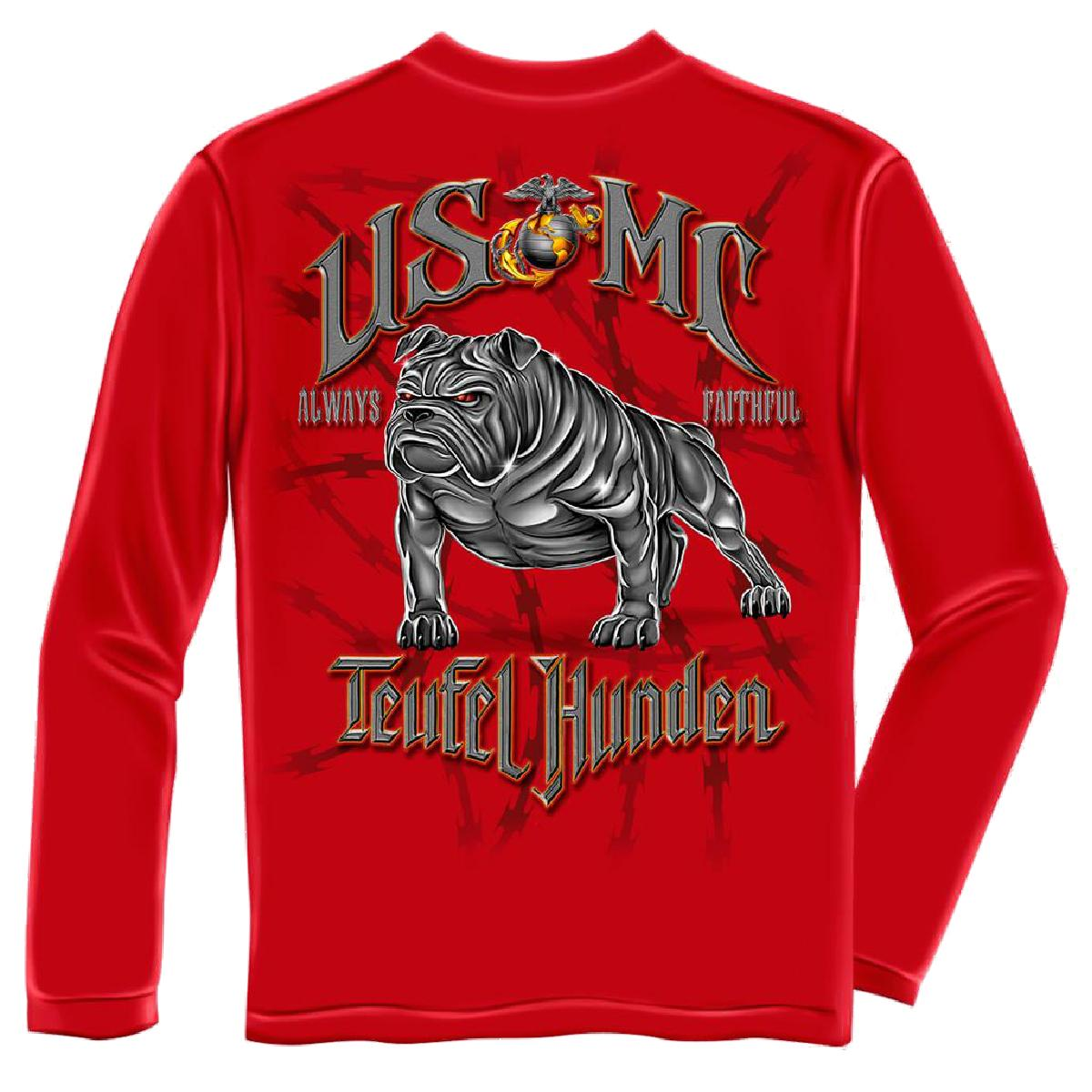 USMC Teufel Hunden Devil Dog Marines Long Sleeve T-Shirt by , Red ...