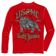 USMC Teufel Hunden Devil Dog Marines Long Sleeve T-Shirt by , Red