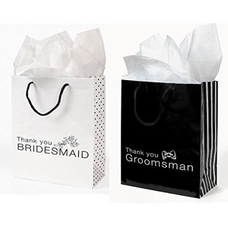 Bridesmaids Gift Bags (12 Pc Wedding party Gift Bag Assortment - Includes 6 Bridesmaid 6 Groomsman)