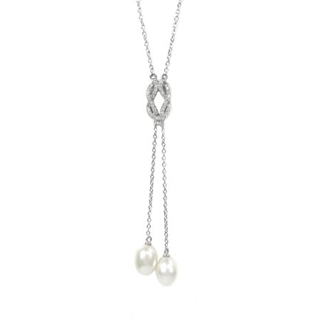 Sterling Silver Freshwater Cultured Pearl and Cubic Zirconia Pendant Chain Lariat Necklace 24''