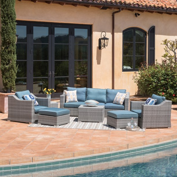 9 Piece Grey Wicker Patio Furniture Set, Corvus 8 Piece Grey Wicker Patio Furniture Set With Blue Cushions