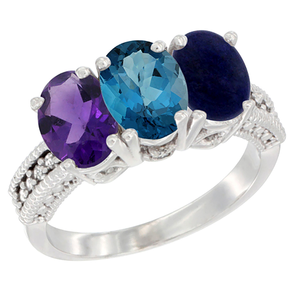 10K White Gold Natural Amethyst, London Blue Topaz & Lapis Ring 3-Stone Oval 7x5 mm Diamond Accent, sizes 5 10 by WorldJewels