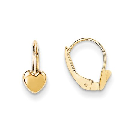 Childrens 14k Gold Heart Earring (Kids Polished Heart Lever Back Earrings in 14k Yellow Gold)
