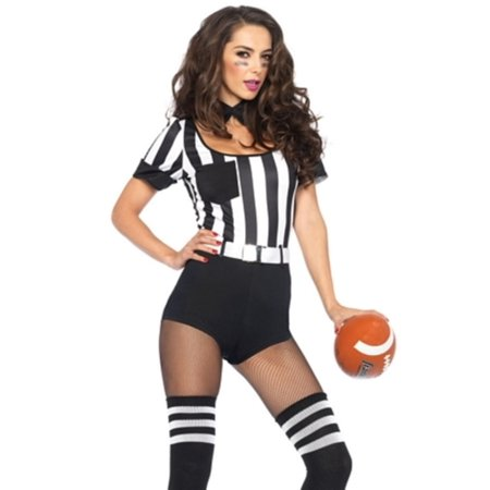 Leg Avenue Women's 3 Piece No Rules Referee Costume, Black/White,