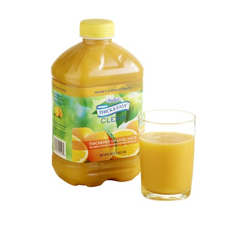 Thick & Easy Clear Thickened Orange Juice, Honey Consistency, 46 Ounce (Pack of 6)