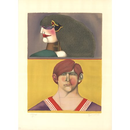 Richard Lindner Face And Profile 1970 Lithograph Signed
