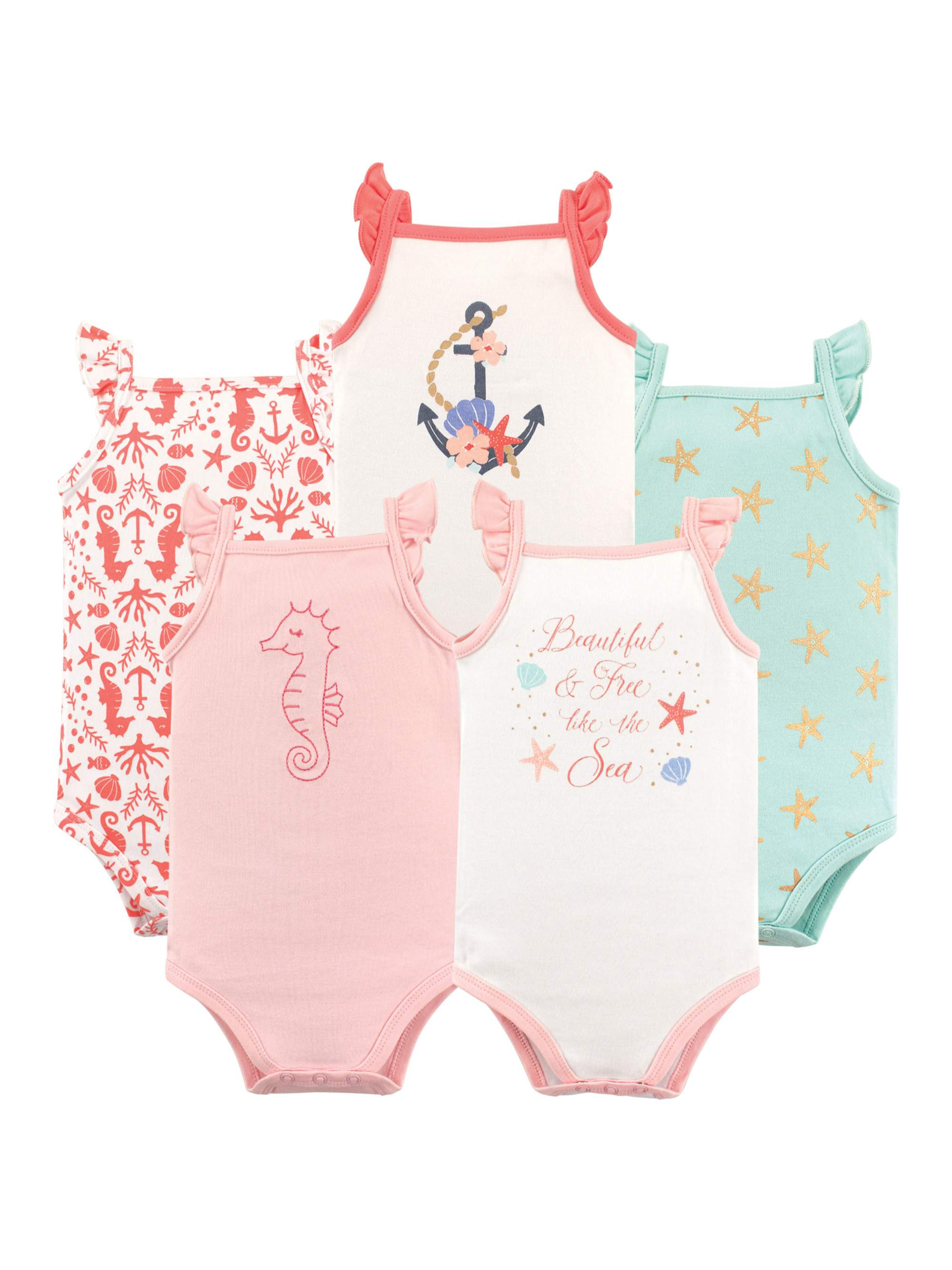 Girls' Flutter-Sleeve Bodysuits, 5-pack