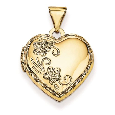 14k Yellow Gold Domed Heart Hollow 2 Picture Locket Pendant 21mmx16mm