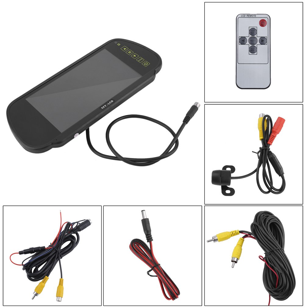 7 Inch LCD Screen Car Rear View Backup Mirror Monitor And Waterproof Reverse Camera Kit Car Parking Assistance