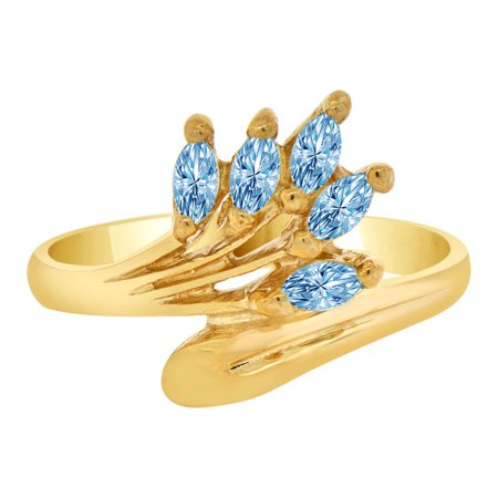 14k Yellow Gold, Classic Marquise Cluster Ring Aqua CZ Mar Synthetic Birthstones Size 6