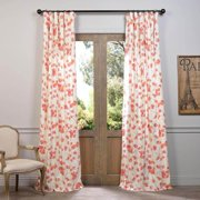 "EFF Dogwood Printed Cotton Curtain Panel Rose  120""L"