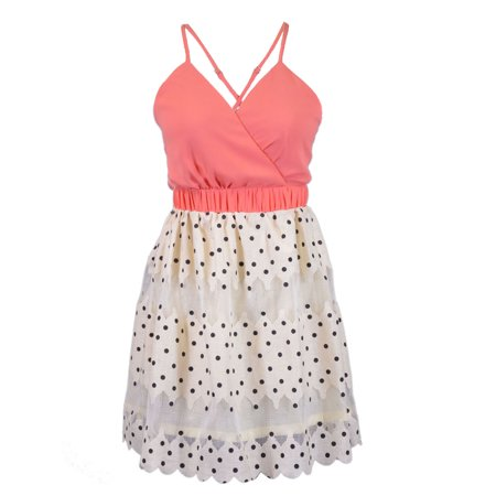 Hommage Spring Tea Party Fold Over Neckline Polka Dot Skirt Tulle Cocktail Dress