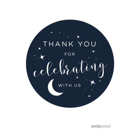 Thank You For Celebrating With Us!  Love You to the Moon and Back Wedding Round Circle Label Stickers, 40-Pack