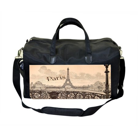 Vintage Style Paris Print Design Black Duffel Gym Bag
