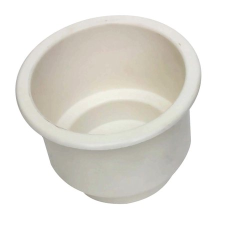 1 Plastic Holder (One Plastic White Cup Holder for Pontoons Pool Tables RVs Cars and more )