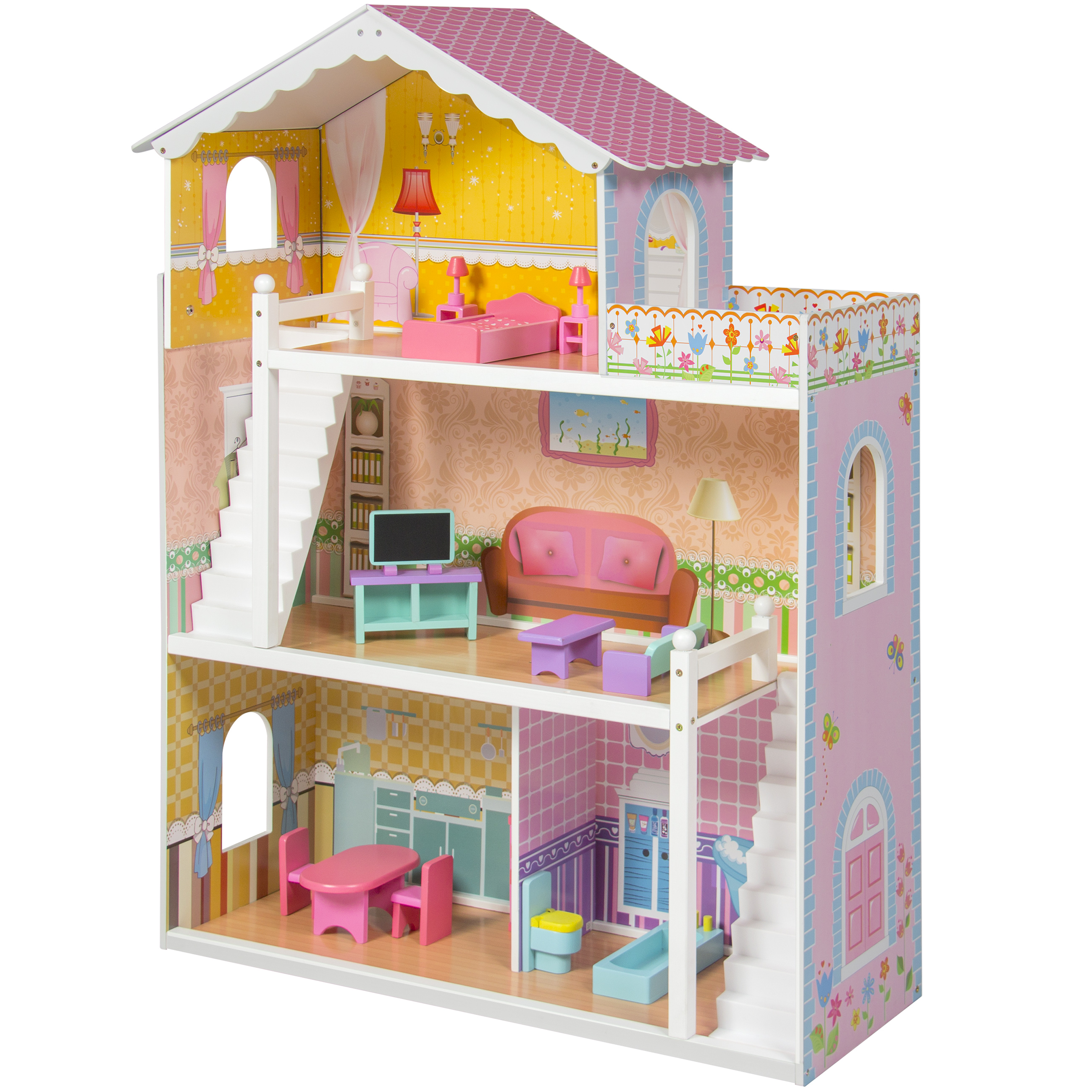 large childrens wooden dollhouse fits barbie doll house pink with furniture walmartcom cheap wooden dollhouse furniture