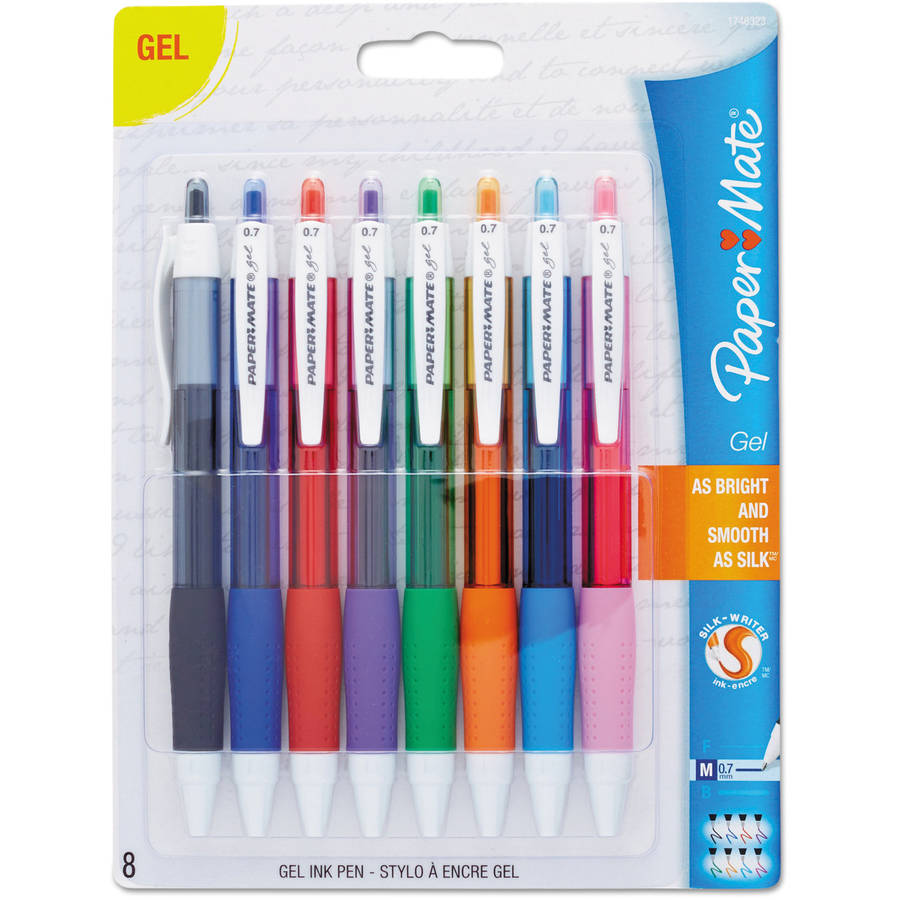 Paper Mate Retractable Gel Pens, Medium Point, Assorted, 8 Pack