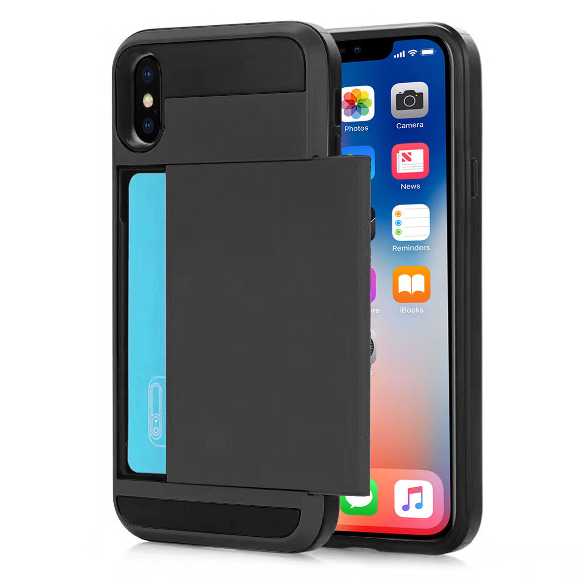 iPhone X Case, Mignova Rugged Protective Card Holder Shock-Absorption Drop-Protection Hard PC Shell Case for Apple iPhone X (Black)