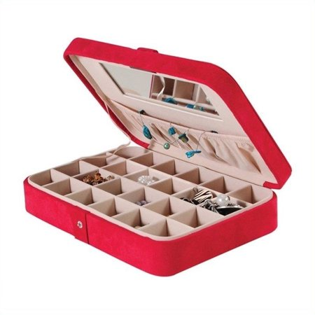 Mele Maria Plush Fabric Jewelry Box with Twenty-Four Sections in Red