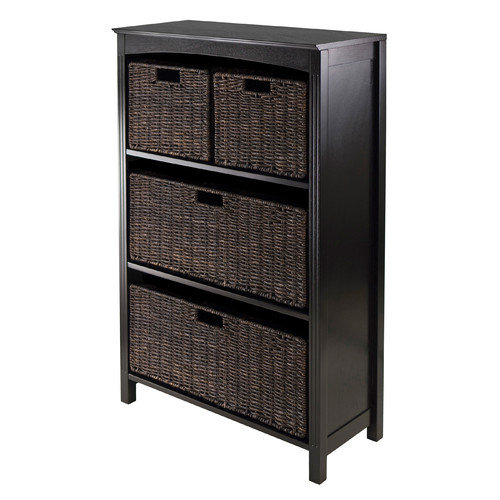 Winsome Trading 92538 5pc Storage 4-Tier Shelf  with 2 Large & 2 Small Baskets