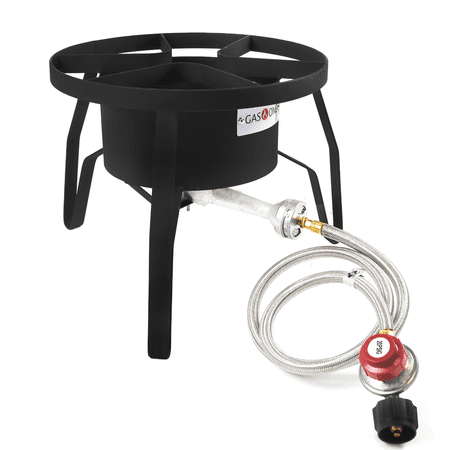 Gas One High Pressure 1-Burner Propane Outdoor Cooker Burner Stove with Adjustable 0-20PSI Regulator and Steel Braided Hose