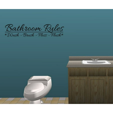 bathroom rules monkey vinyl wall decal quotes wall stickers bathroom decals home decor decals. Black Bedroom Furniture Sets. Home Design Ideas