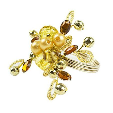 Fennco Styles Glass Beads Ember Flower Napkin Ring - Set of 4 ()