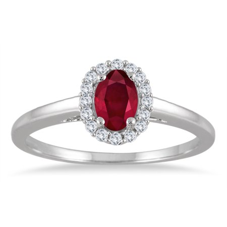 6x4MM Oval Shape Ruby and Diamond Halo Ring in 10K White Gold Oval Shape Ruby Ring