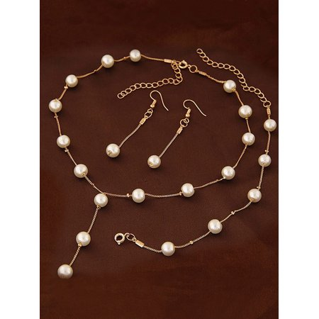 Lavaport 3pcs Women Necklace Pendant Chain Jewelry Pearl Bracelet Earrings Chan Luu Pearl And Silver Necklace