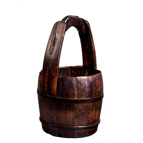 Antique Revival Vintage Round Bucket with Wooden Handle
