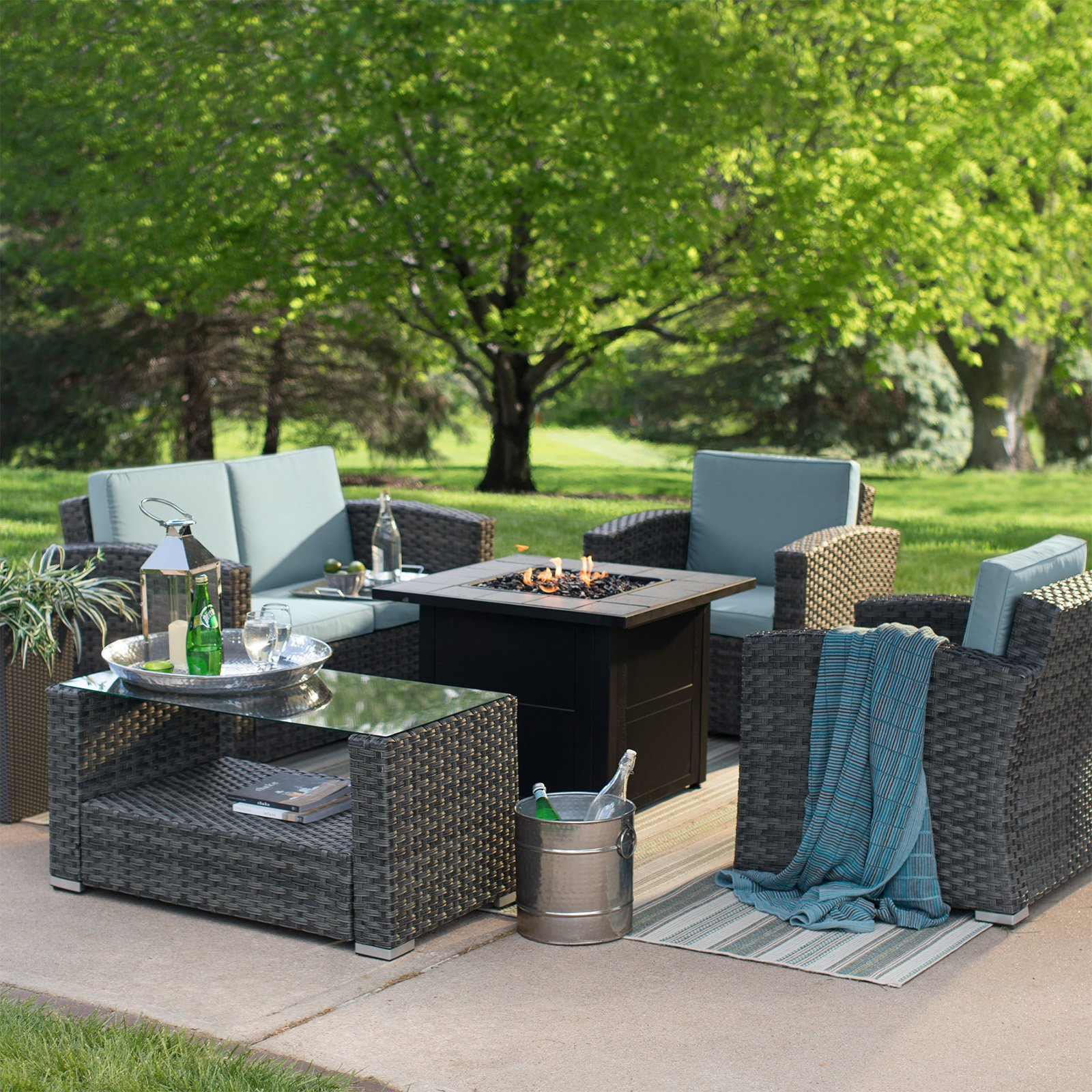 Coral Coast Dursey All Weather Wicker Fire Pit Conversation Set