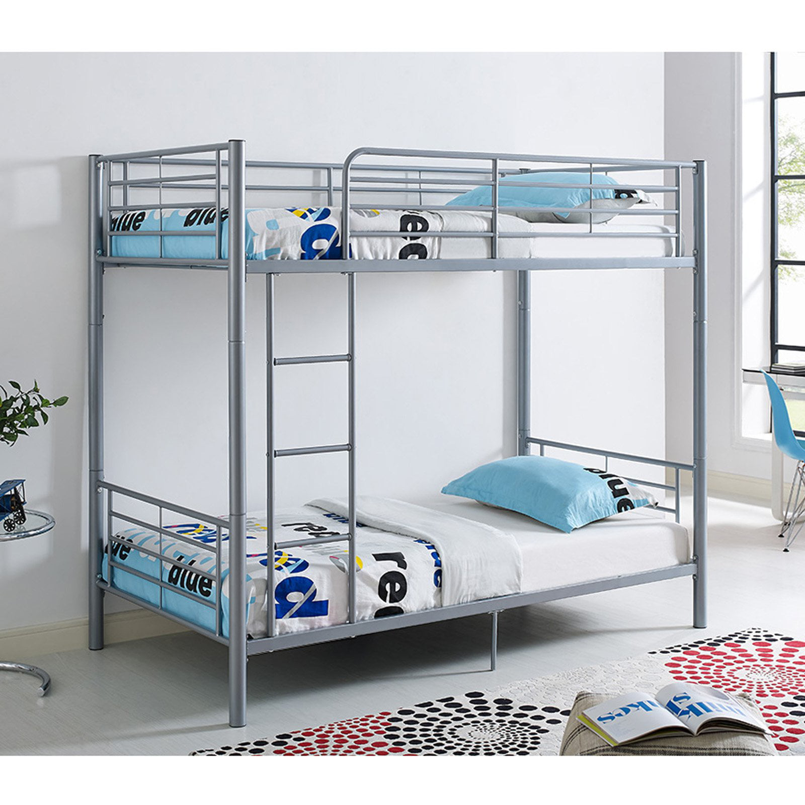 Picture of: Premium Twin Over Twin Silver Metal Bunk Bed By Manor Park Walmart Com Walmart Com