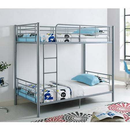 Walker Edison Twin Over Twin Metal Bunk Bed - Silver