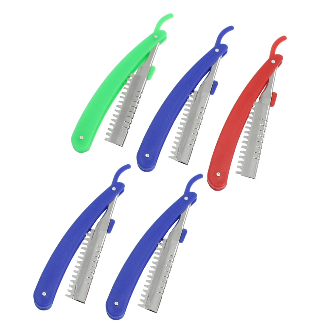 Unique Bargains Unique Bargains 5 Pcs Red Green Handle Hair Hairstyle Comb Razor Cutter Holder