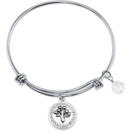 8mm Clear Crystal Stainless Steel Many Hearts, One Love, That's Family Bead Bangle Bracelet, 8