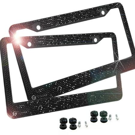 Zone Tech Shiny Bling License Plate Cover Frame - 2-Pack Classic Black Crystal Bling Novelty/License Plate Frame with Mounting Screws (Tech License Plate Frame)