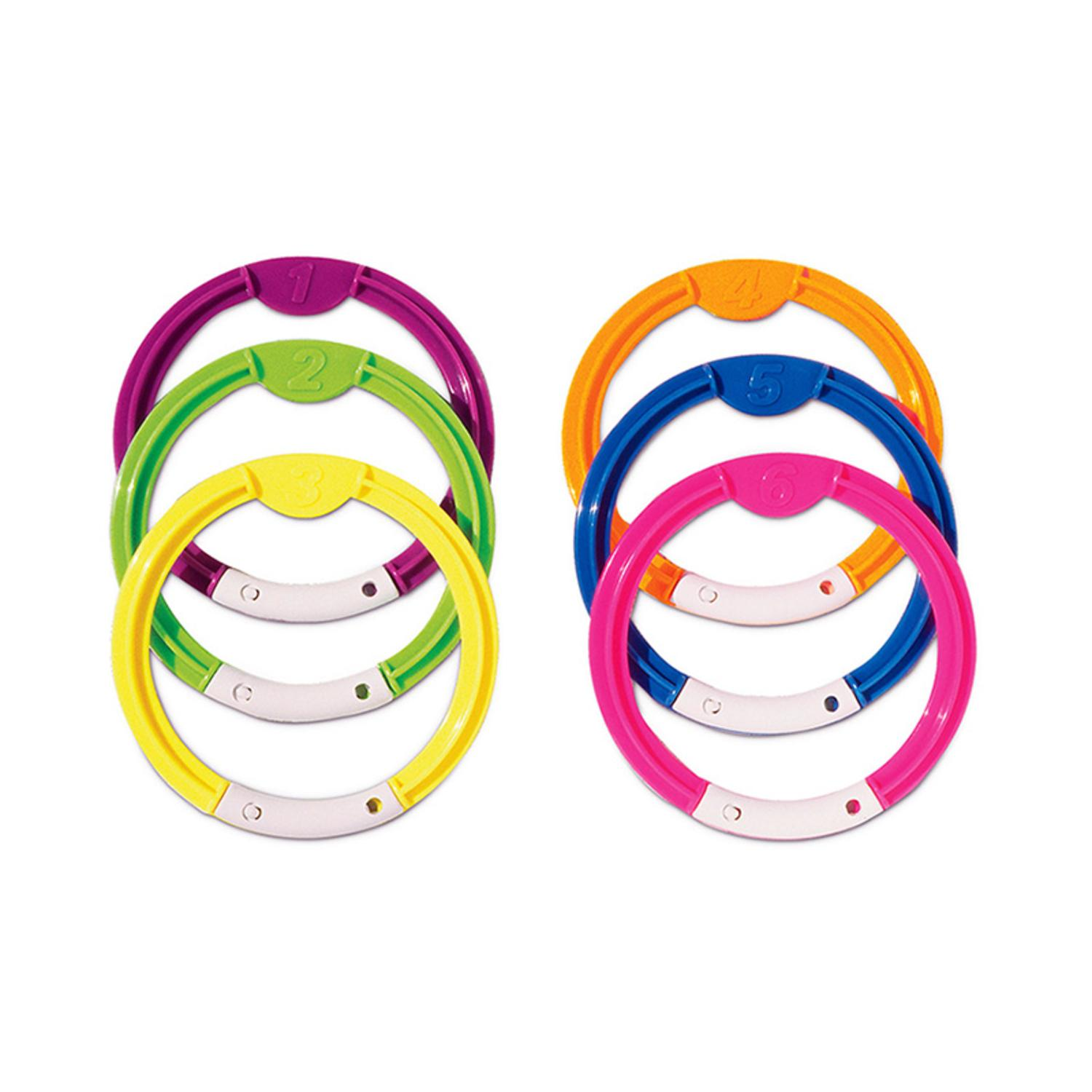 Set of 6 Multi-Colored Swimming Pool Dive Rings 6""
