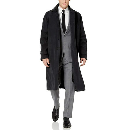 Cianni Men's Single Breasted Black Full Length All Year Round Raincoat 60L